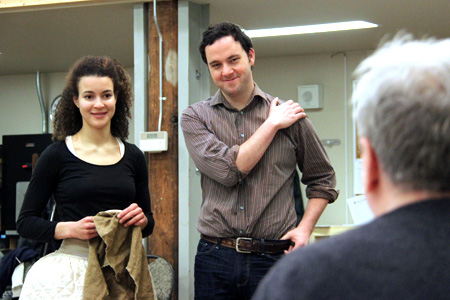 Leah Doz in rehearsal with Gregory Prest and Joseph Ziegler
