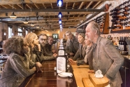 Cast of Idomeneus having a staredown at Pure Spirits Oyster House & Grill. Photo: Aleksandar Antonijevic