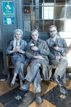Michelle Monteith, Stuart Hughes and Jakob Ehman enjoying a Balzac's coffee. Photo: Aleksandar Antonijevic
