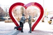 Alana Bridgewater and Frank Cox-O'Connell sharing the love. Photo: Daniel Malavasi